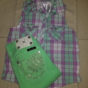 Girls Miss Me Shorts and Shirt Outfit